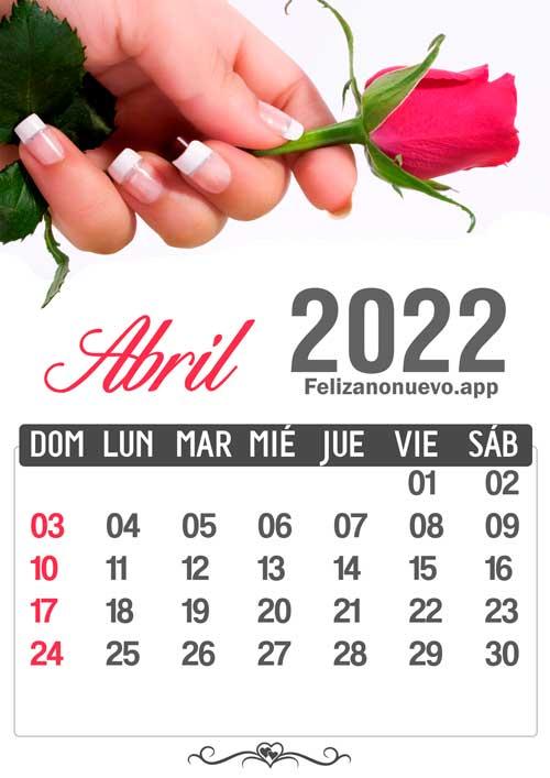 Calendario mes de abril 2022 para imprimir