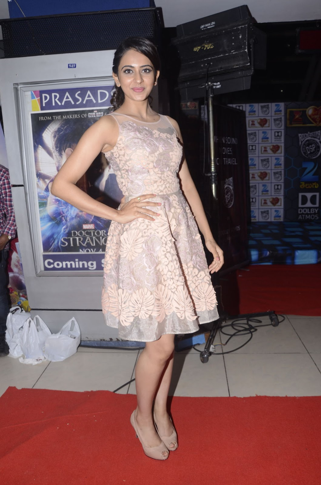 Rakul Preet Singh Hot legs Show Stills At Live Show In Pink Dress