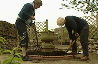 Digging out around the urn