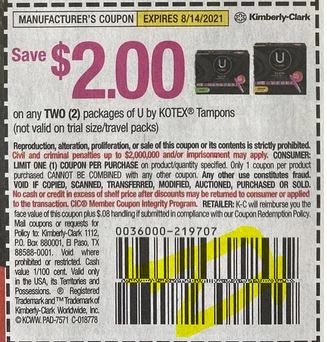 """$2.00/2 U by Kotex Tampons Coupon from """"SMARTSOURCE"""" insert week of 7/25/21."""