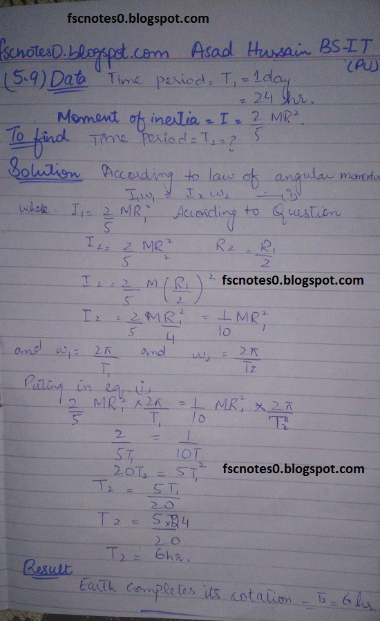 F.Sc ICS Notes: Physics XI: Chapter 5 Circular Motion Numerical Problems by Asad Hussain 6