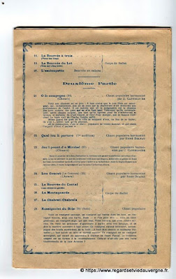La Bourrée du Massif Central, programme 1938