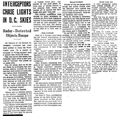 Jets Alerted For Saucers - Washington Times-Herald 7-26-1952
