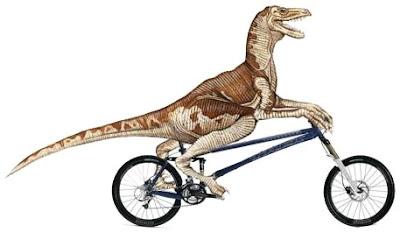 Dibujo del velociraptor montando bicicleta