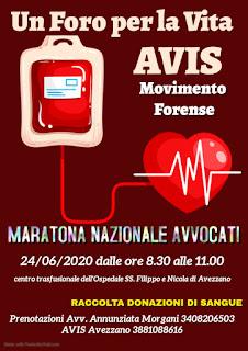"""Prima Maratona Nazionale """"IL FORO PER LA VITA"""", una giornata dedicata alla donazione del sangue"""