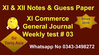 Paper 1st year Accounting general journal Test 03