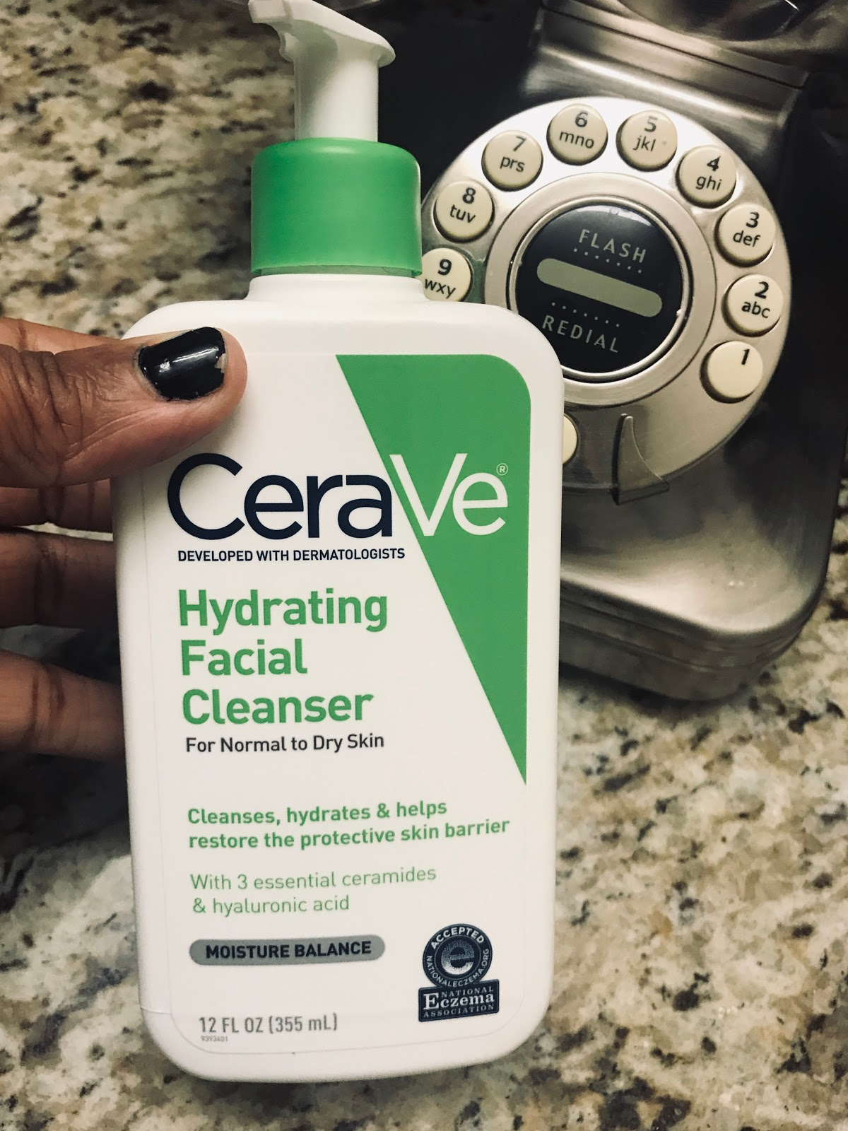 Image: Woman sharing review about Cerave Hydrating Facial Cleanser. The first thing I purchased was the Hydrating Facial Cleanser: The results after two weeks have made an enormous difference in the texture and feel of my skin.  I did get the one that is for normal to dry skin. Because of the bottle saying it cleanses, hydrates and helps restore the protective skin barrier.  Also, it has three essential ceramides with hyaluronic acid included which helps with moisture balance. I also chose the Cervae line of products because it is fragrance-free and non-comedogenic which won't clog pores.