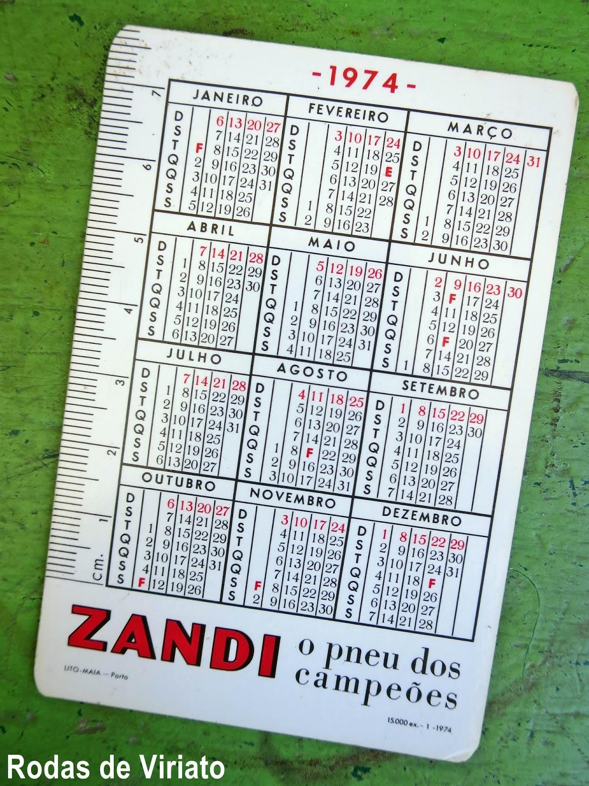 Calendario 1974.Calendario Antigo Zandi De 1974