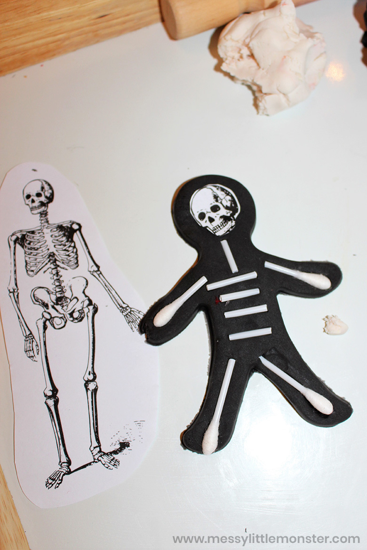 playdough skeleton Halloween activity for kids