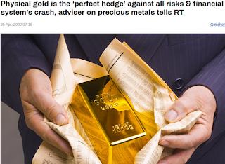 실물 금, 금융시스템 붕괴와 위험에 대한 안전자산. 금 파생상품 가격은 영이 될 수도 있다