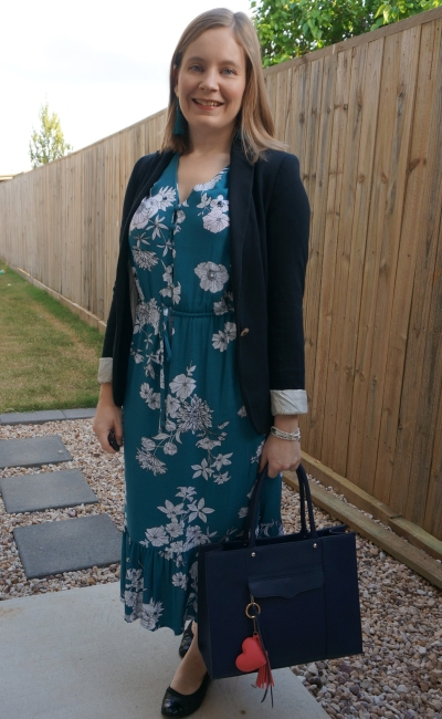 kmart teal floral midi dress boho for the office with black jersey blazer flats tote bag | awayfrombue