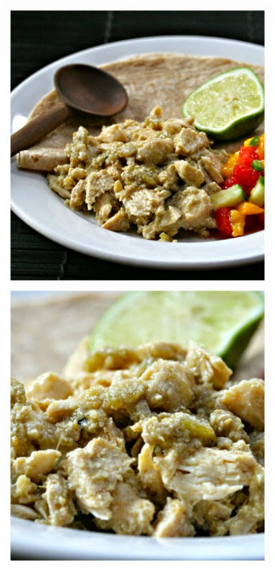 Slow Cooker Green Chile Chicken from The Perfect Pantry featured on SlowCookerFromScratch.com