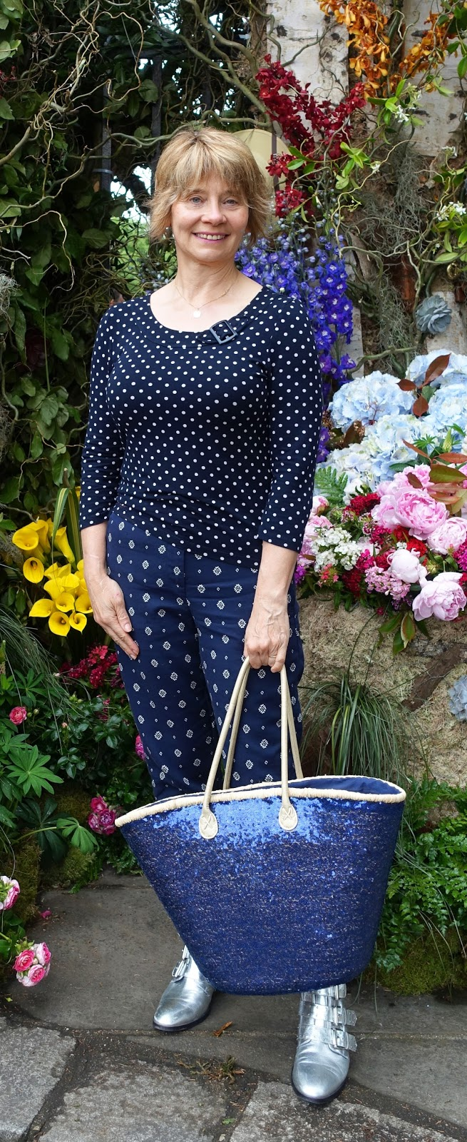 Ready for the off: over 50s  blogger Gail Hanlon arrives at the Chelsea Flower Show