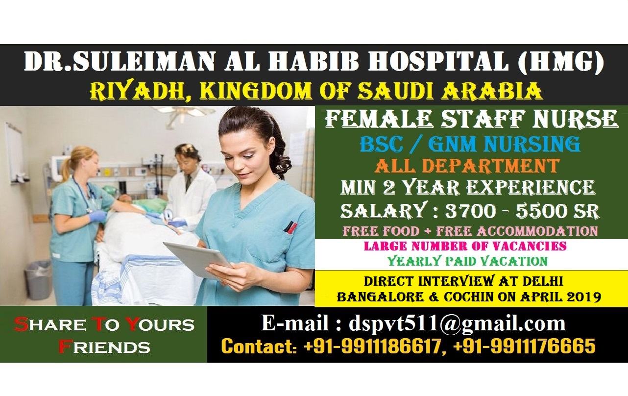 Urgently Required Staff Nurses for Dr. Sulaiman AL Habib Medical Group Riyadh KSA