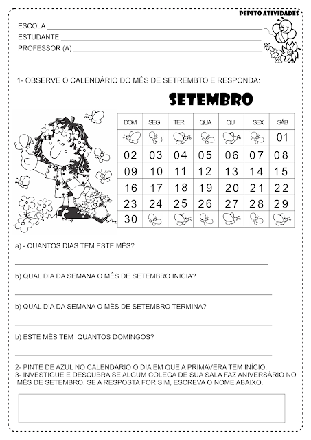 Projeto Primavera Atividade Calendário Alfabetização