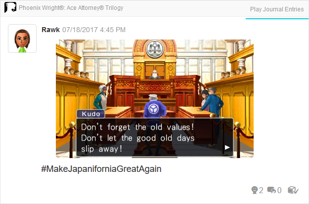 Phoenix Wright Ace Attorney Trials and Tribulations Victor Kudo don't forget the old values good days