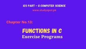 functions in c exercise programs, ics part 2, turbo c