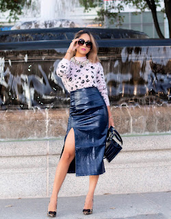 pencil skirt paired with leopard sweater