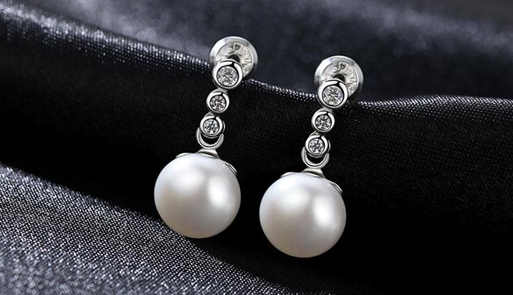 米雅鋯石淡水真珍珠 925純銀耳環