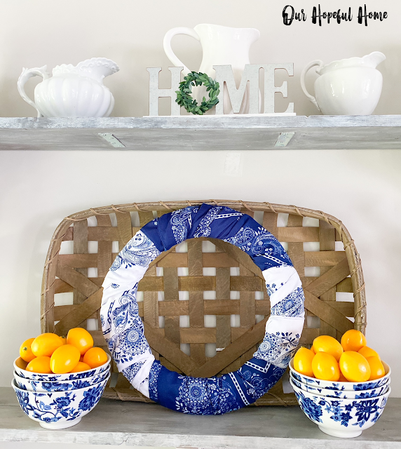 vintage ironstone pitcher metal Home sign bandana wreath lemons
