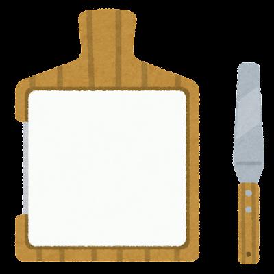 軟膏板とヘラのイラスト