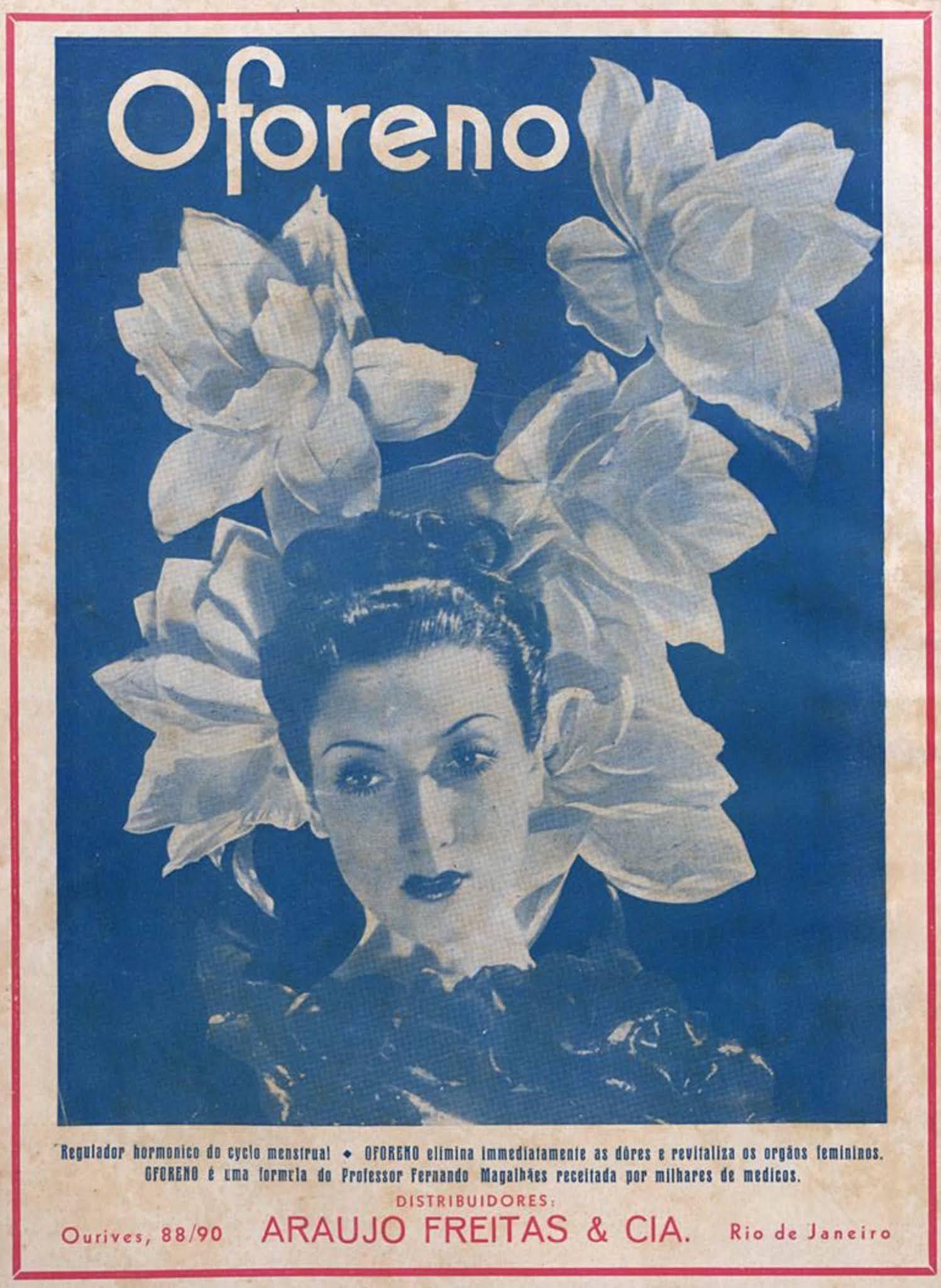 Anúncio antigo do Oforeno para regular o ciclo menstrual das mulheres em 1936