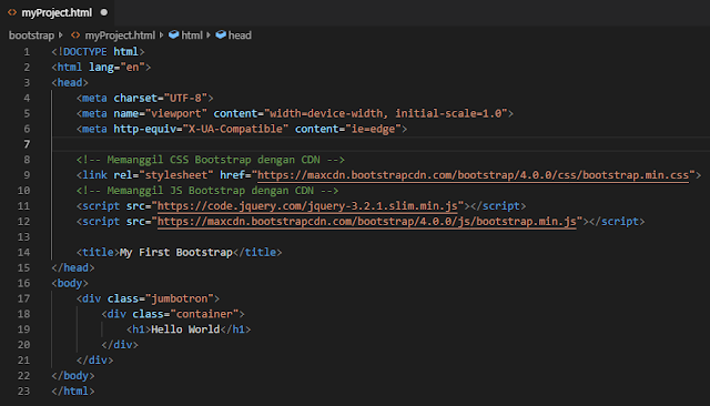 membuat project pertama dengan bootstrap