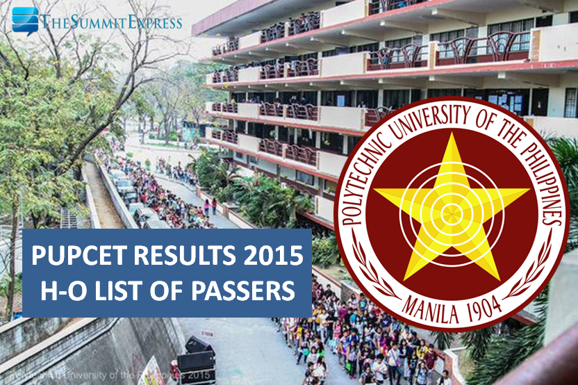 PUPCET Results 2015 H-O Alphabetical List of Passers