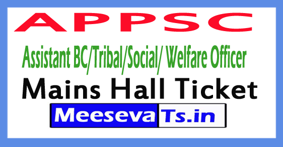 APPSC Assistant BC/Tribal/Social/ Welfare Officer Mains Hall Ticket 2017