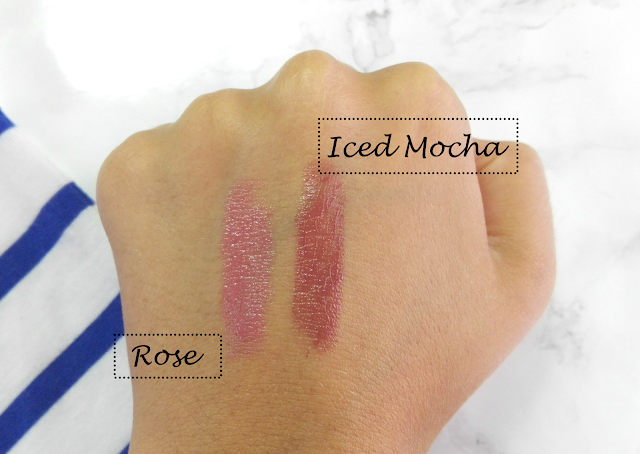 Avon Shine Burst Gloss Stick Iced Mocha & Rose Swatch