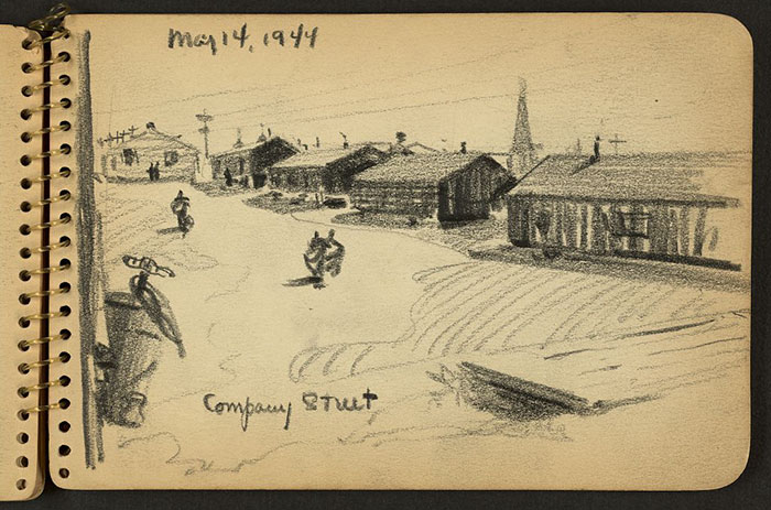21-Year-Old WWII Soldier's Sketchbooks Show War Through The Eyes Of An Architect - Street With Barracks At Fort Jackson, South Carolina