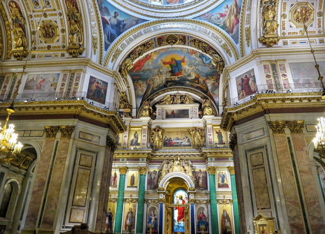 Inside St. Isaac's Cathedral in St. Petersburg, Russia