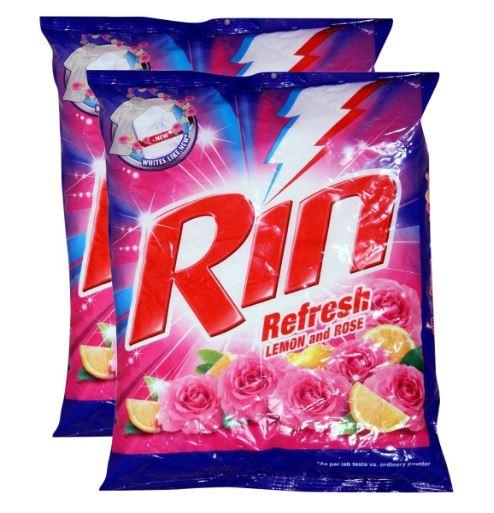 Rin Refresh Detergent Powder Lemon and Rose, 1Kg (Pack of 2)