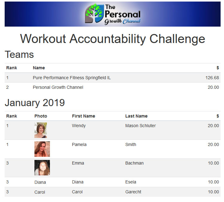 January Workout Accountability Group Challenge Results