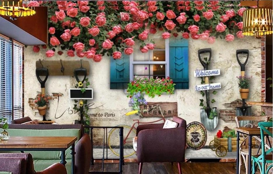 Tranh dán tường 3D cho quán cafe trà sữa đẹp nhất
