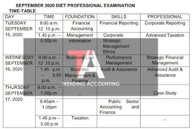New ICAN September 2020 Professional Examination Timetable
