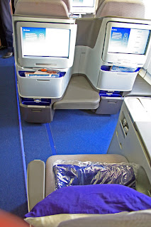 Business Class seat and monitors aboard Lufthansa A330