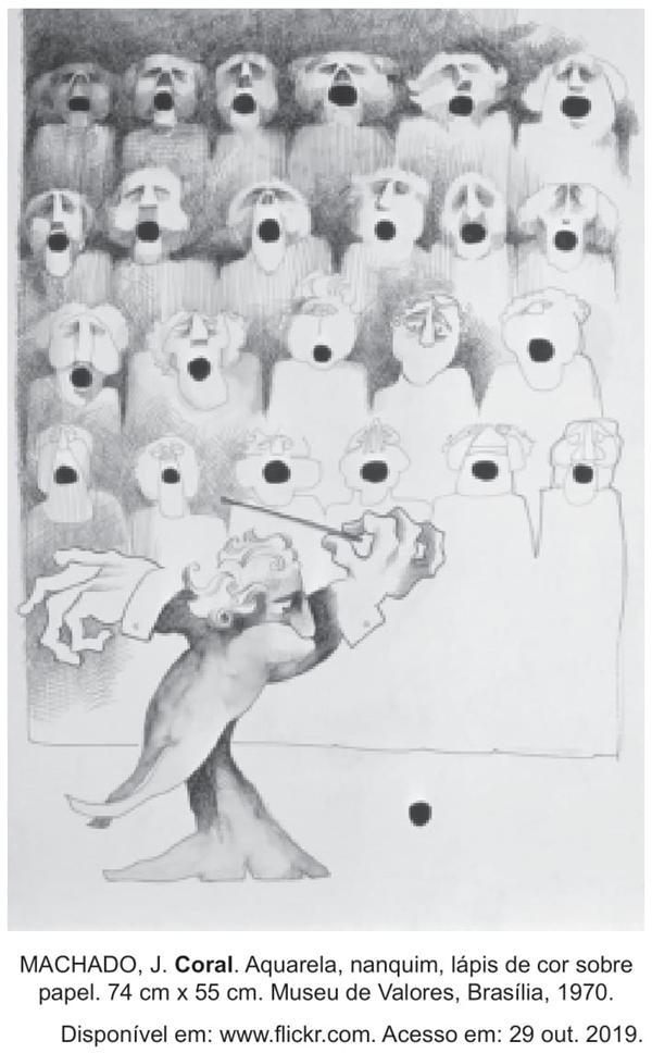 MACHADO, J. Coral. Aquarela, nanquim, lápis de cor sobre papel. 74 cm x 55 cm. Museu de Valores, Brasília, 1970.