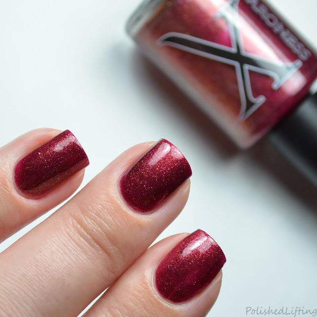 red shimmer nail polish swatch