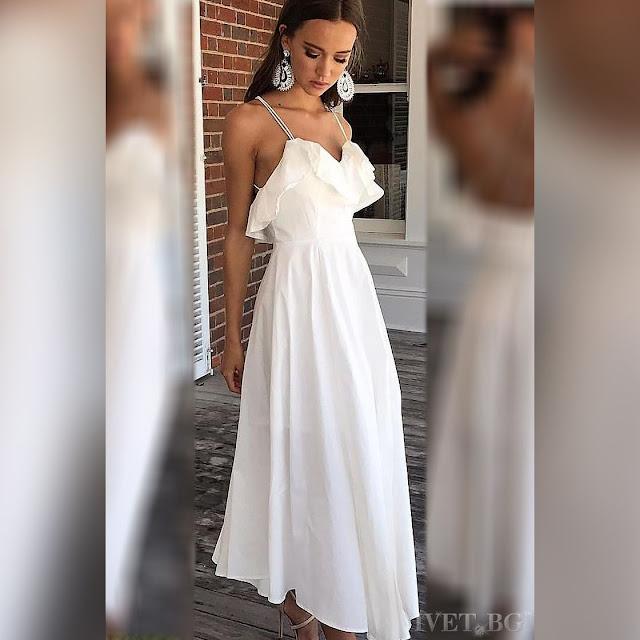 Εντυπωσιακό μάξι άσπρο φόρεμα SALLY