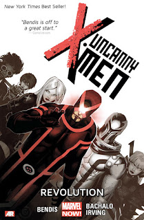 Review Uncanny X-Men Volume One Revolution Brian Michael Bendis Chris Bachalo Frazer Irving Triage Tempus Emma Frost White Queen Cyclops Scott Summers Magneto Magik Bendis is off to a great start AR Augmented Reality Marvel cover trade paperback tpb comic book