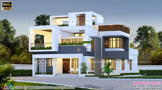 Modern Box Type Elevation with Double Rise Living At Kollam