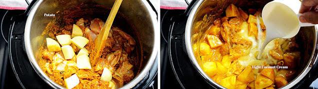 Add potato to curry chicken