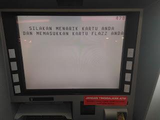 Tarik Kartu ATM dan Masukan Kartu Flazz