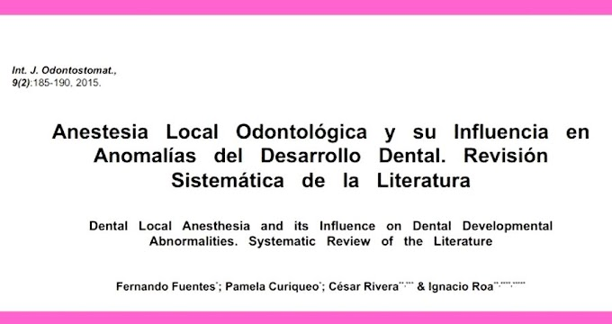 PDF: La Anestesia Dental podría afectar al desarrollo de los dientes
