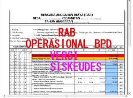 Contoh Rab Operasional Bpd Versi Aplikasi Rab Siskeudes Format Administrasi Desa