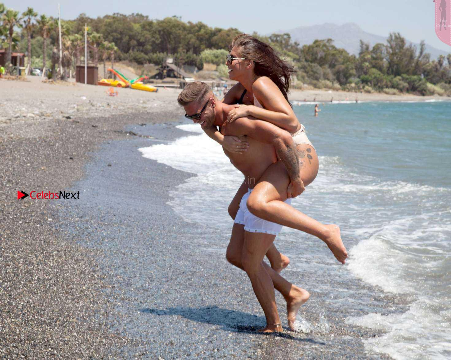 Jessica Sheers busty babe in bikini having sex with her boy friend in bikini on beach wow August 2017