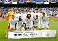 REAL MADRID C. F. Temporada 2019-20. Courtois, Sergio Ramos, Kroos, Varane, Casemiro, Benzema. Lucas Vázquez, Vinicius, Marcelo, Carvajal y James Rodríguez. REAL MADRID C. F. 3 LEVANTE U. D. 2. 14/09/2019. Campeonato de Liga de 1ª División, jornada 4. Madrid, estadio Santiago Bernabeu (60.401 espectadores). GOLES: 1-0: Benzema (25'). 2-0: Benzema (31'). 3-0: Casemiro (40'). 3-1: Borja Mayoral (48'). 3-2: Melero (75').