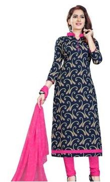 Lowest Price ! Printed Chiffon Dress Material with Dupatta