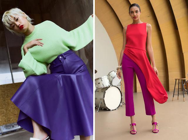 Зеленый свитер и фиолетовая юбка, розовый топ и брюки цвета фуксии